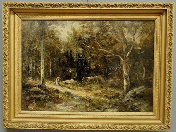 129: Oil on panel Barbizon School landscape painting of