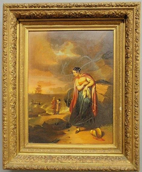 130: Oil on panel painting, 19th c., of a farewell to a