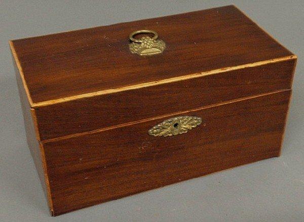 "131: Georgian inlaid mahogany tea caddy, c.1790. 5.75""h"