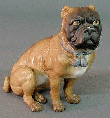 134: German Meissen porcelain seated pug dog, c.1870. 6
