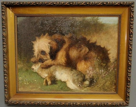 135: Oil on canvas painting, 19th c., of a dog with a r