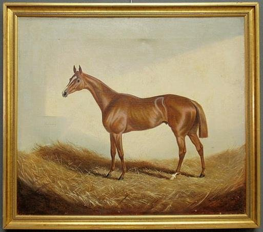 """137: Oil on canvas equine portrait titled """"Recorder"""" an"""