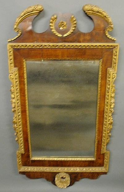 139: Georgian mahogany mirror, c.1780, with gilt decora