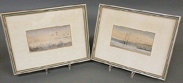 140: Two small oil on canvas paintings of geese on a wa