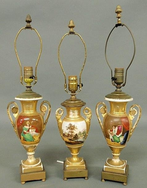 141: Pair of Paris porcelain urns, early 19th c., appro