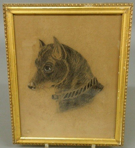 142: Charcoal portrait of a dog, 19th c., unsigned. 10.