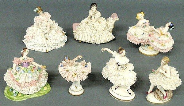 143: Group of seven German porcelain dancing figures, e