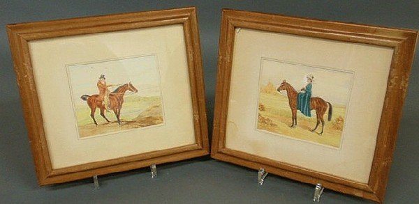 149: Two English watercolor paintings of a lady and gen