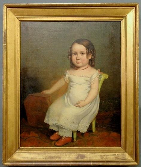 200: Fine American oil on canvas portrait of Elizabeth