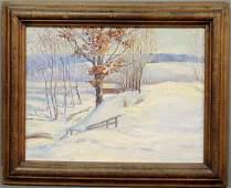 379: Oil on board impressionist winter landscape, signe