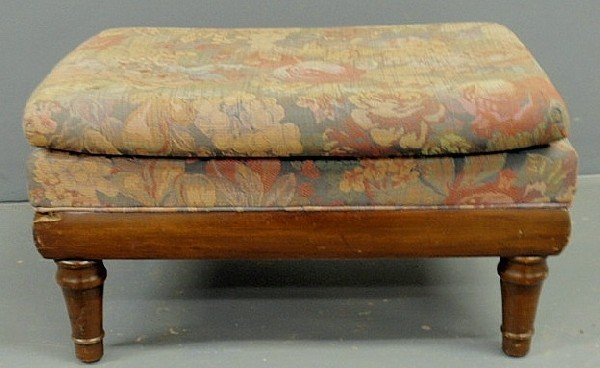 21: Victorian mahogany footstool with turned feet and