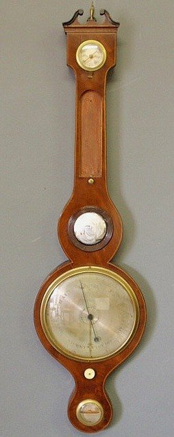 31: Inlaid mahogany banjo-form barometer, c.1800, sign