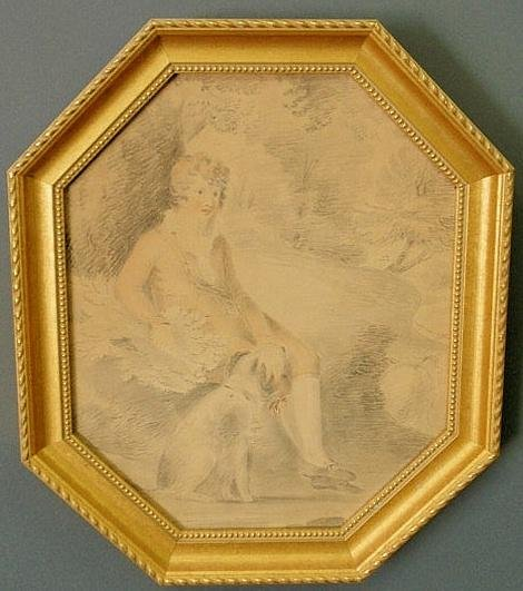 35: Continental 19th c. pencil sketch of a seated boy