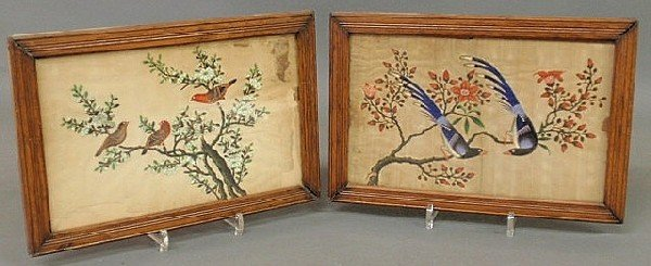 38: Pair of oak framed colorful bird paintings on silk