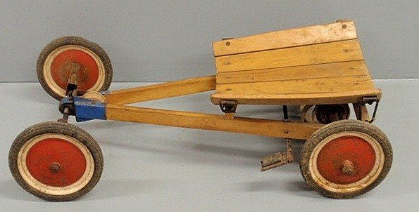 "253: Early German Steiff child's racing car. 10.5""h.x33"