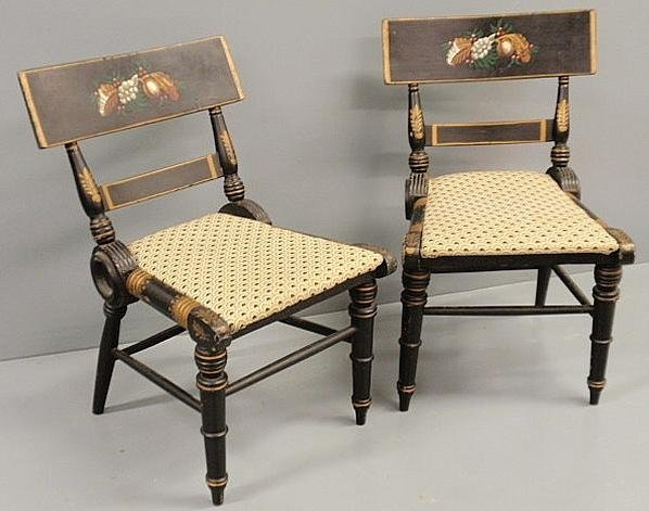 259: Pair of Baltimore style klismos chairs with paint