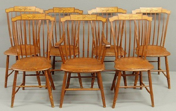 262: Set of seven Windsor style chairs, one armchair, s
