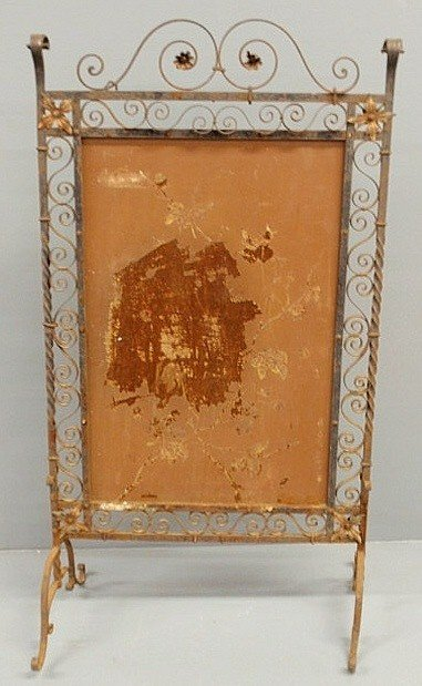 263: Ornate Continental wrought iron fire screen, late