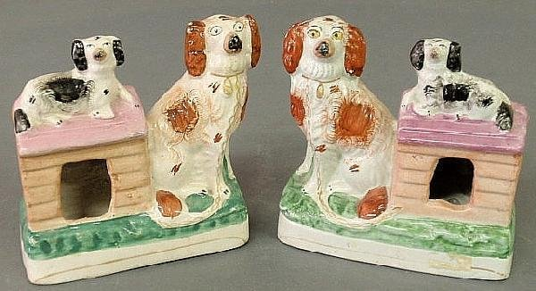267: Pair of 19th c., Staffordshire figural groups with