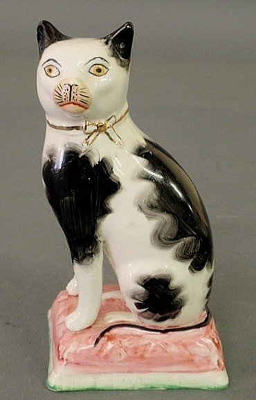 273: Staffordshire black and white cat, 19th c., seated