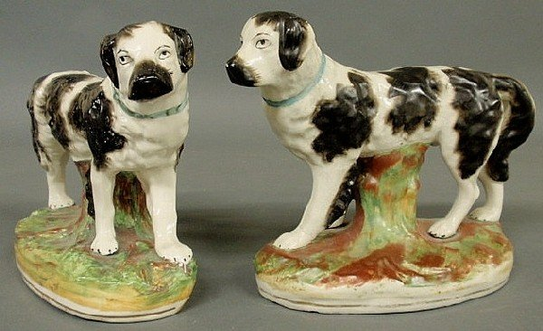 306: Large pair of 19th c. Staffordshire Newfoundland d
