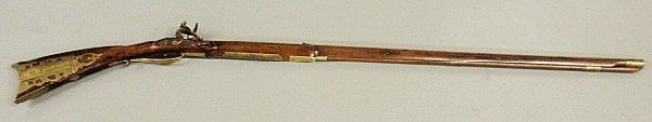 494: Rare Kentucky flintlock rifle with brass inlaid pa