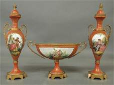 542 Threepiece French porcelain garniture set late 1