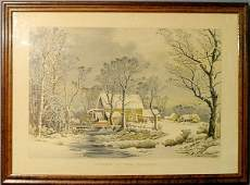 560 Rare Currier  Ives lithograph Winter in the Coun