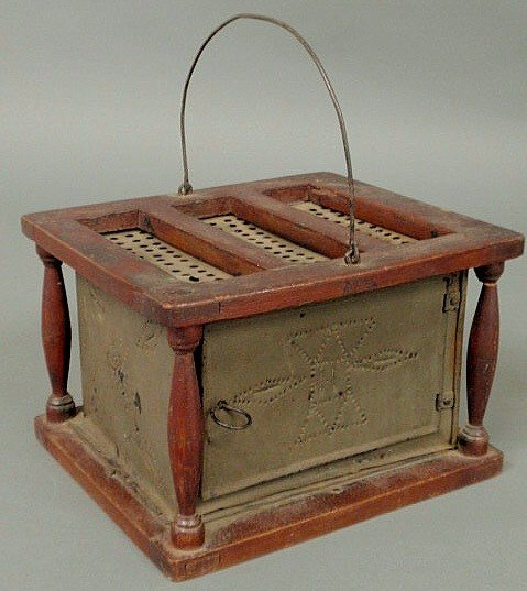 3: Early punched tin and wood foot warmer with balust