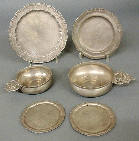 5: Six early pewter pieces- two porringers, largest 8