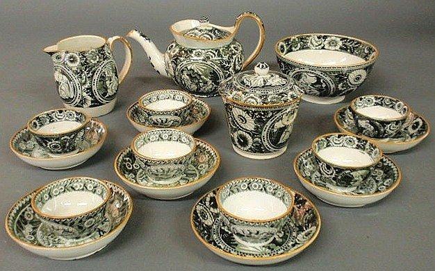 14: English creamware tea set, early 19th c., with bla