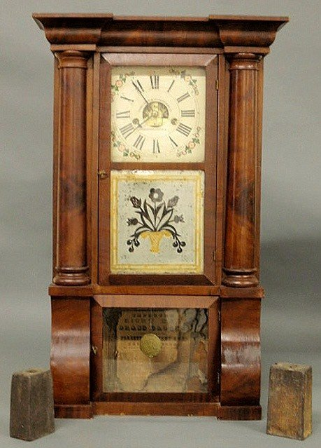 16: Empire mahogany veneered eight-day clock, c.1830,