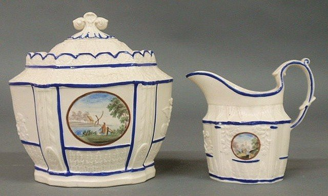"""17: Hard paste sugar bowl 6""""x6"""" and creamer with Chine"""