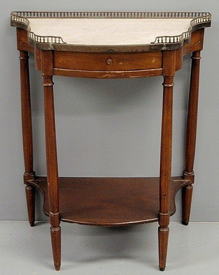 20: French fruitwood stand with marble top and brass g