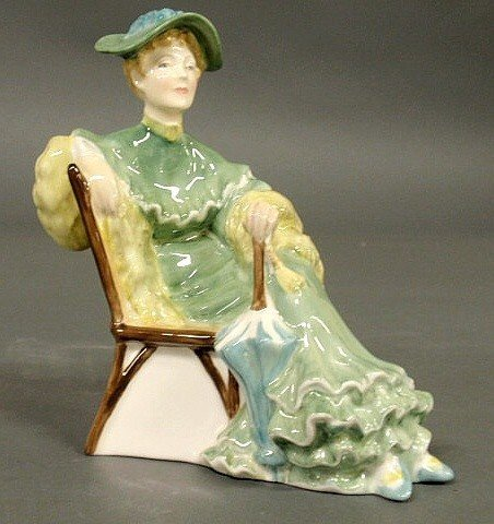 """7A: Royal Doulton figure """"Ascot"""", of a seated woman. 6"""""""