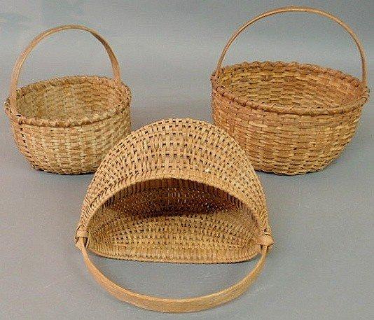 4: Three splintwood baskets, 19th c., largest approx.