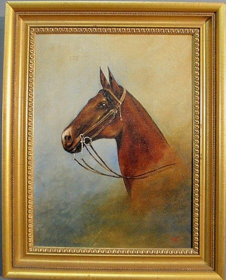 """5: Oil on board equine portrait signed l.r. """"Swain 37"""
