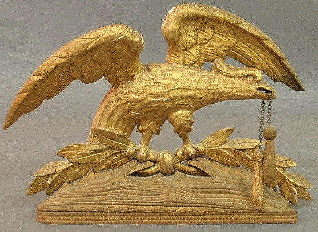 7: Gilt carved spread-winged eagle, early 19th c., th