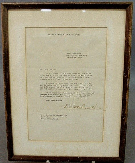 8: Signed Dwight D. Eisenhower letter to Mrs. Charles
