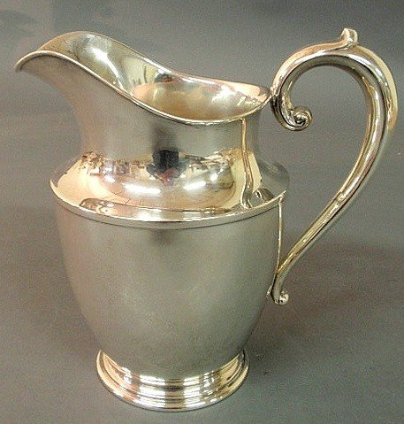 10: Sterling silver water pitcher by Wallace, 4.5 pint