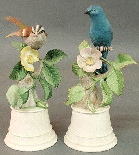 """16: Two Boehm porcelain birds. 10""""h., bases 4""""dia."""