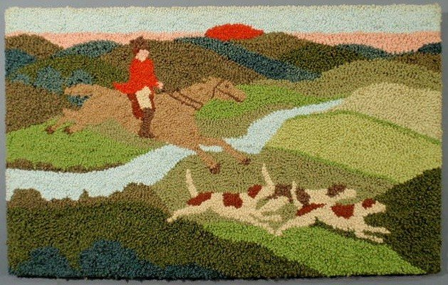 17: Colorful hooked rug with fox hunting theme, mounte