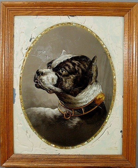 21: Reverse painted on glass portrait of an English bo