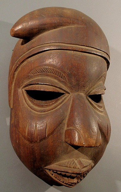 """23: Carved African head mask. 18""""h.x12""""w."""