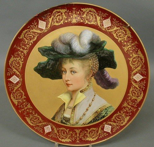 25: Royal Vienna porcelain charger, late 19th c., with