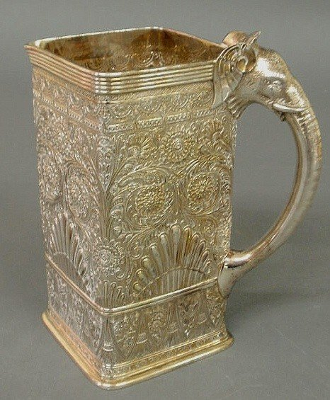 26: Square sterling silver pitcher by Gorham with appl