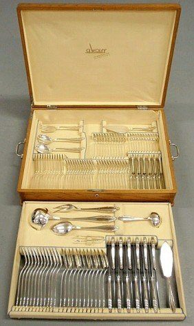 German 800 Silver Flatware Service For Twelve By A