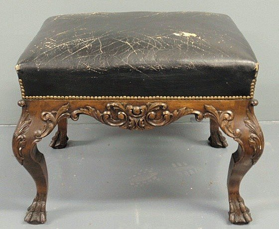 77: Chippendale style carved fruitwood stool with leat