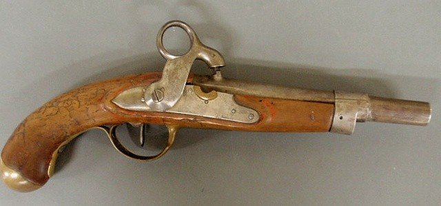 78: Dutch military percussion pistol dated 1815 with b
