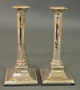 Pair Of George II Sheffield Silverplate Candlestic